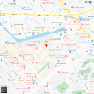 Map location of St Mary's Campus, Imperial College London